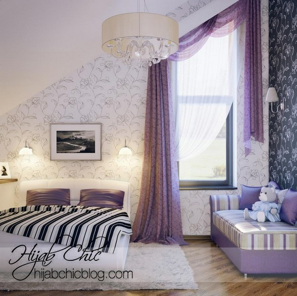 girls-bedroom-decorating-ideas-purple-with-flower-wallpaper-with-curtain-purple