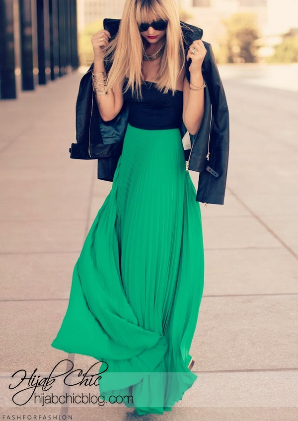 new style green-maxi-skirt-sty